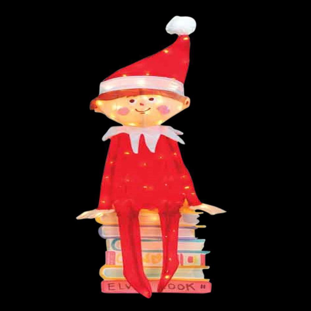 42 in. Pre-Lit LED Elf Sitting on Books