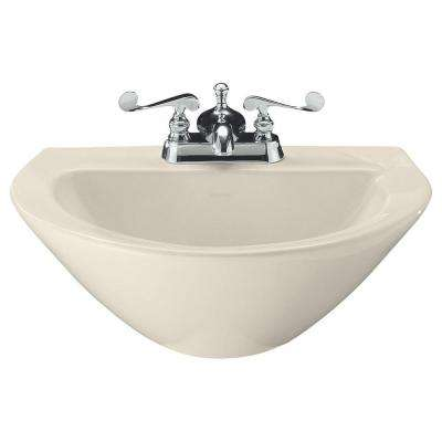 Parigi 3-1/2 in. Vitreous China Pedestal Sink Basin in Almond with Overflow Drain