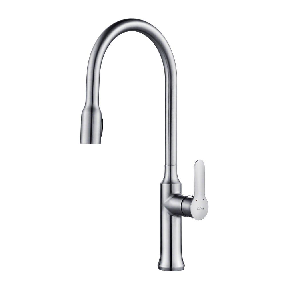 kraus kitchen faucets reviews kraus nola single handle concealed pull down kitchen faucet with dual function sprayer in chrome 572