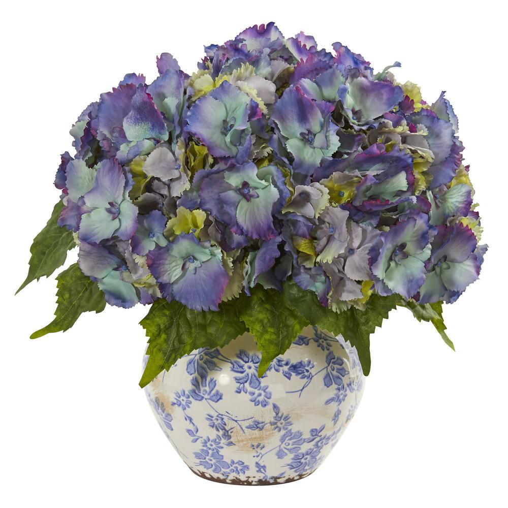 Indoor Hydrangea Artificial Arrangement in Floral Design Vase