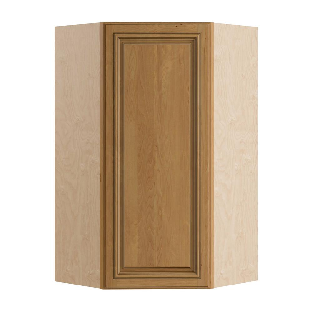 Home Decorators Collection Clevedon Assembled 24x36x12 in. Single Door Hinge Left Wall Kitchen Angle Cabinet in Toffee Glaze
