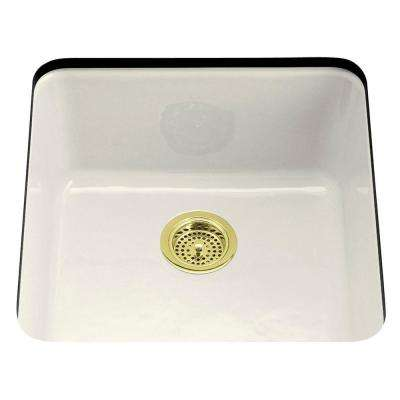 Iron/Tones Drop-In/Undermount Cast-Iron 21 in. Single Bowl Kitchen Sink in Biscuit
