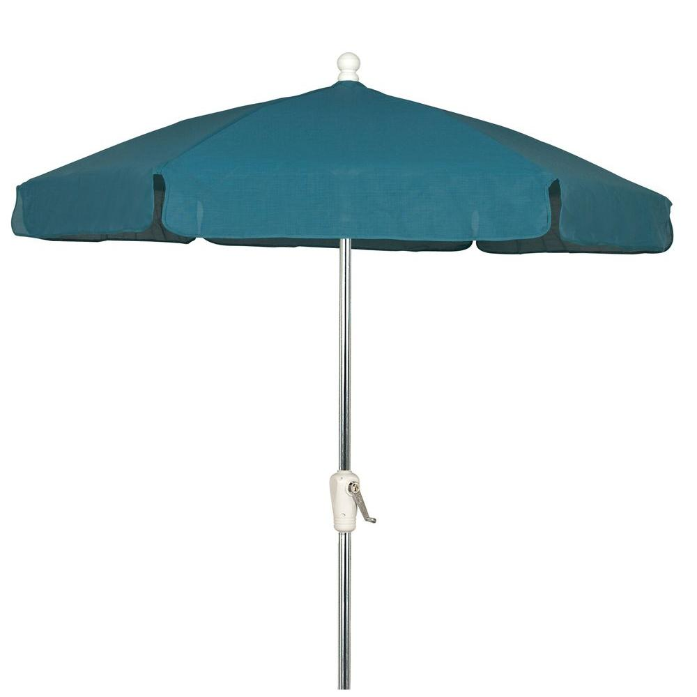 7.5 ft. Bright Aluminum Garden Patio Umbrella in Teal Vinyl Coated