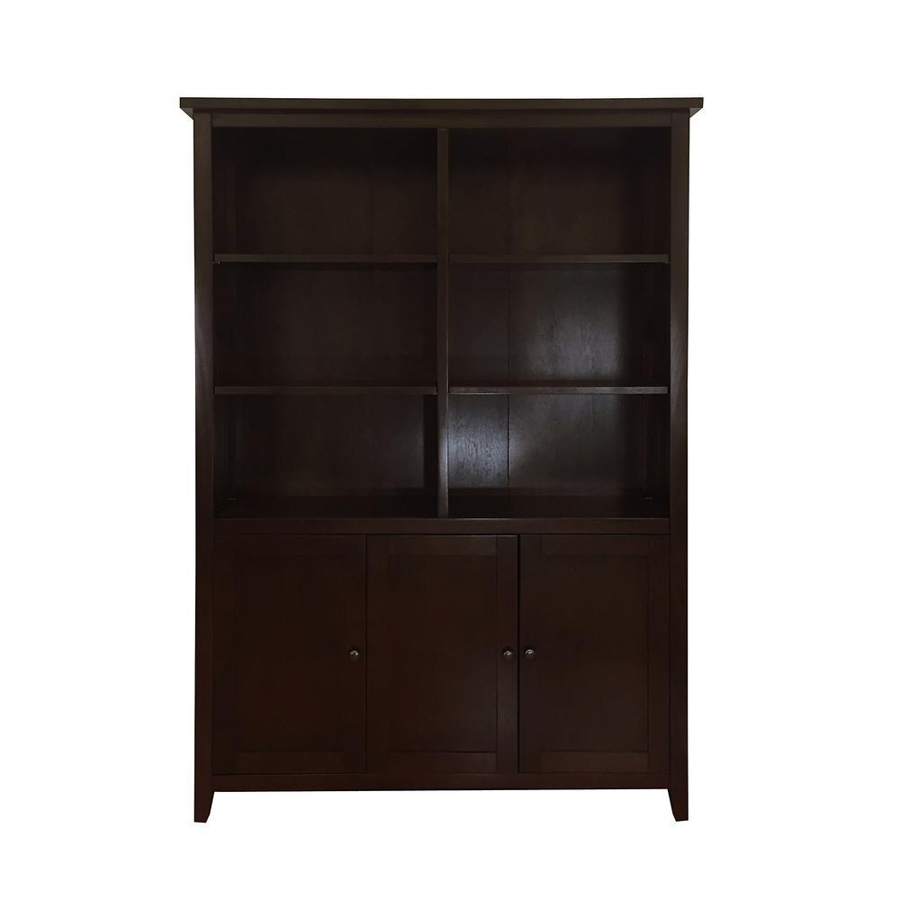 Brookdale Dark Walnut 3-Tier Standard Bookcase