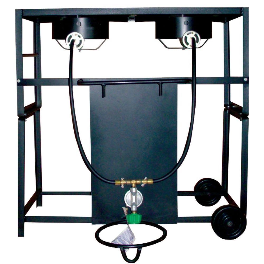 54,000 BTU Bolt Together Propane Gas Double Burner Outdoor Cooking Cart