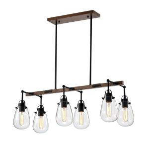 Enija 13.39 in. 6-Light Indoor Black Chandelier with Light Kit