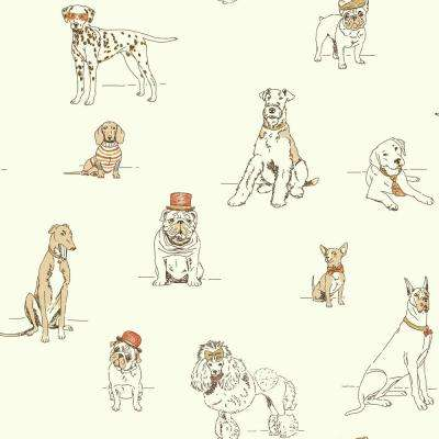 Dog's Life Wallpaper Orange/metallic Gold Paper Strippable Roll (Covers 56 sq. ft.)