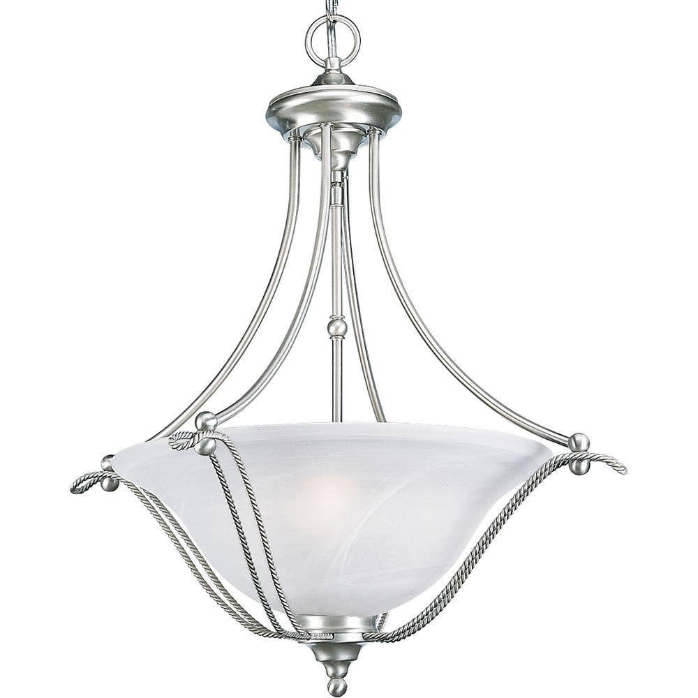 Progress Lighting Avalon 3 Light Brushed Nickel Foyer Pendant With Alabaster Glass