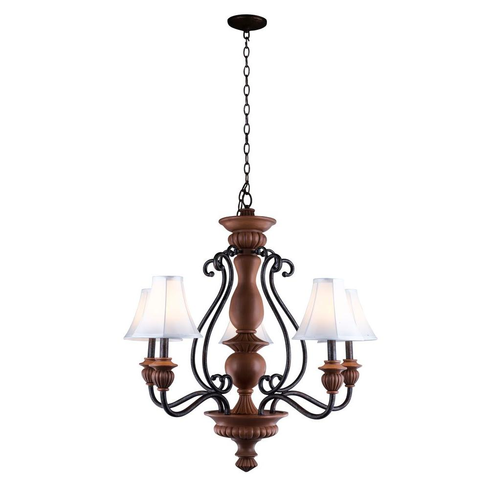 World Imports Elysia Collection 5-Light Antiqued Gold Chandelier with Elegant White Fabric Shades