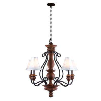Elysia Collection 5-Light Antiqued Gold Chandelier with Elegant White Fabric Shades