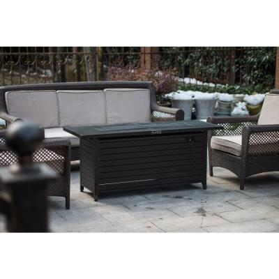 56 in. x 21 in. Rectangular Fire Pit Table With Stainless Steel Burner in Mocha