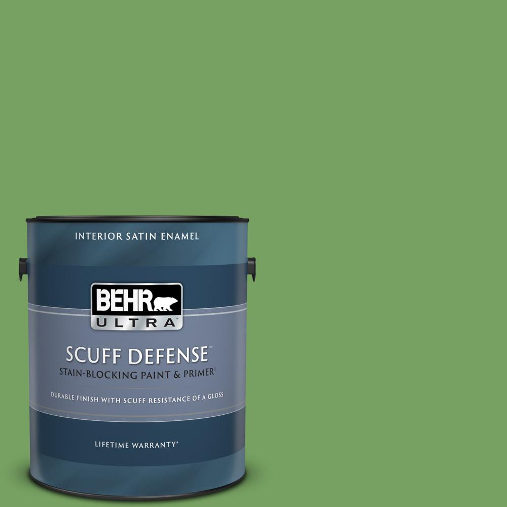 Behr Ultra 1 Gal Mq4 47 Parakeet Extra Durable Satin Enamel Interior Paint And Primer In One 775301 The Home Depot