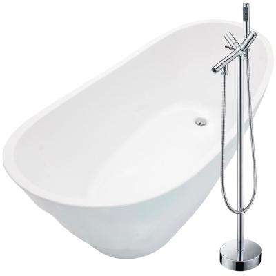Stratus 67 in. Acrylic Flatbottom Non-Whirlpool Bathtub in White with Havasu Faucet in Polished Chrome
