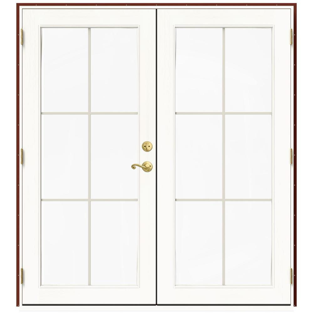 Jeld Wen 72 In X 80 In W 2500 Red Clad Wood Right Hand 6 Lite French Patio Door W White Paint