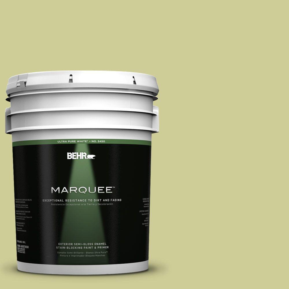 5-gal. #400D-4 Corn Husk Green Semi-Gloss Enamel Exterior Paint