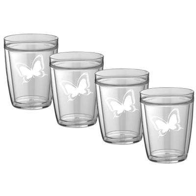 Kasualware Butterfly 14 oz. Doublewall Short Tumbler (Set of 4)