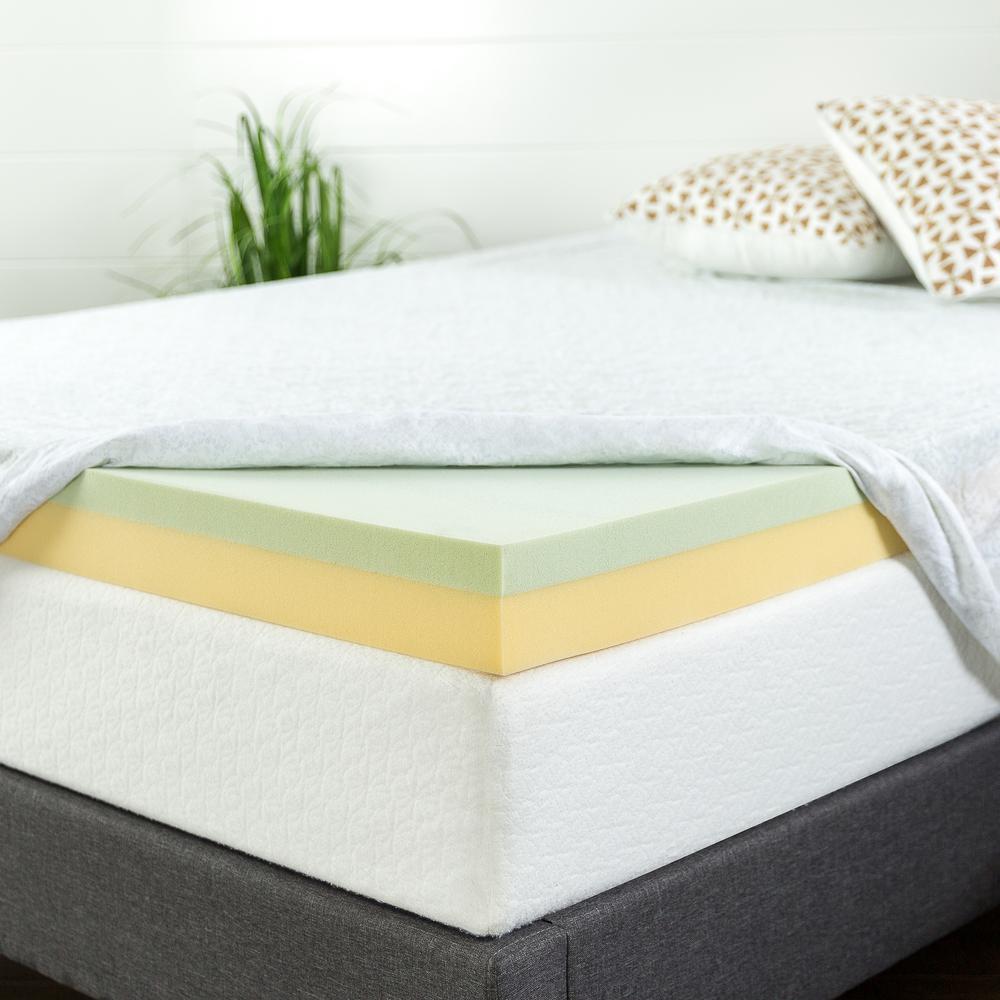 zinus 4 in green tea queen short memory foam mattress topper hd gtft 400sq the home depot. Black Bedroom Furniture Sets. Home Design Ideas