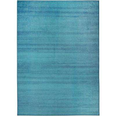 Washable Solid Textured Ocean Blue 5 ft. x 7 ft. Stain Resistant Area Rug