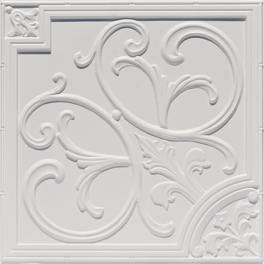 From Plain To Beautiful In Hours Lillies and Swirls 2 ft. x 2 ft. PVC Glue-up or Lay-in Ceiling Tile in White Matte
