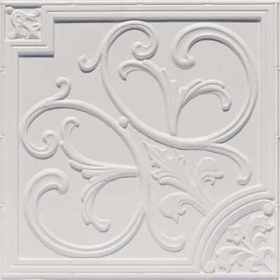 Lillies and Swirls 2 ft. x 2 ft. PVC Glue-up or Lay-in Ceiling Tile in White Matte