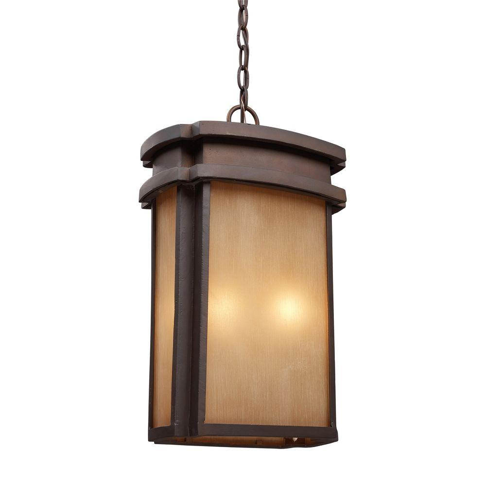 Titan Lighting 2-Light Hanging Outdoor Clay Bronze Pendant-DISCONTINUED