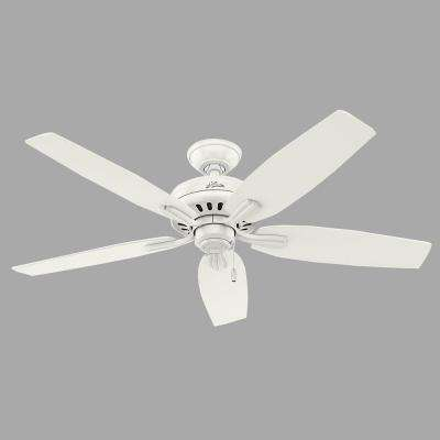 Newsome 52 in. Indoor Fresh White Ceiling Fan bundled with Hunter Handheld Remote Control