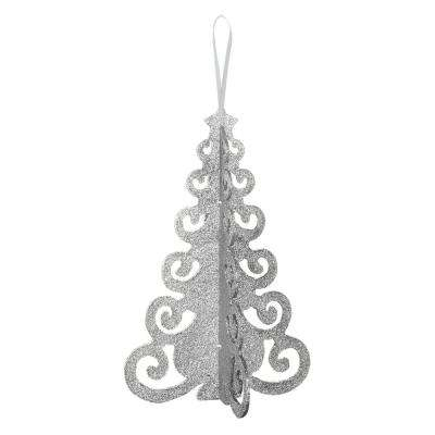 10.25 in. x 6.5 in. Christmas Silver Tree MDF Glitter Centerpiece (4-Pack)