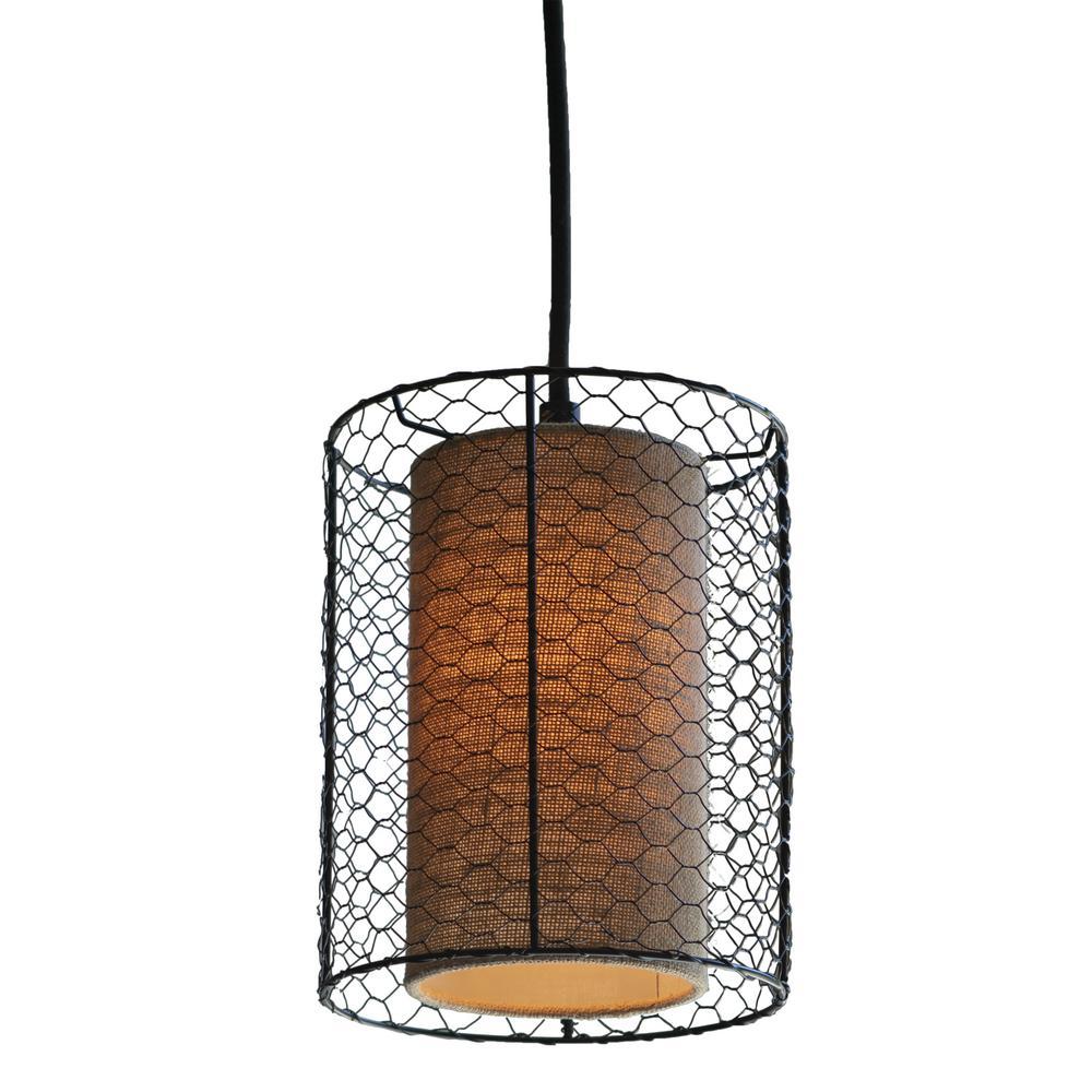 Cooper Chicken Wire Burlap 1-Light Bronze Pendant