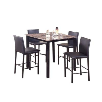 5-Piece Black and Brown Counter Height Dinette