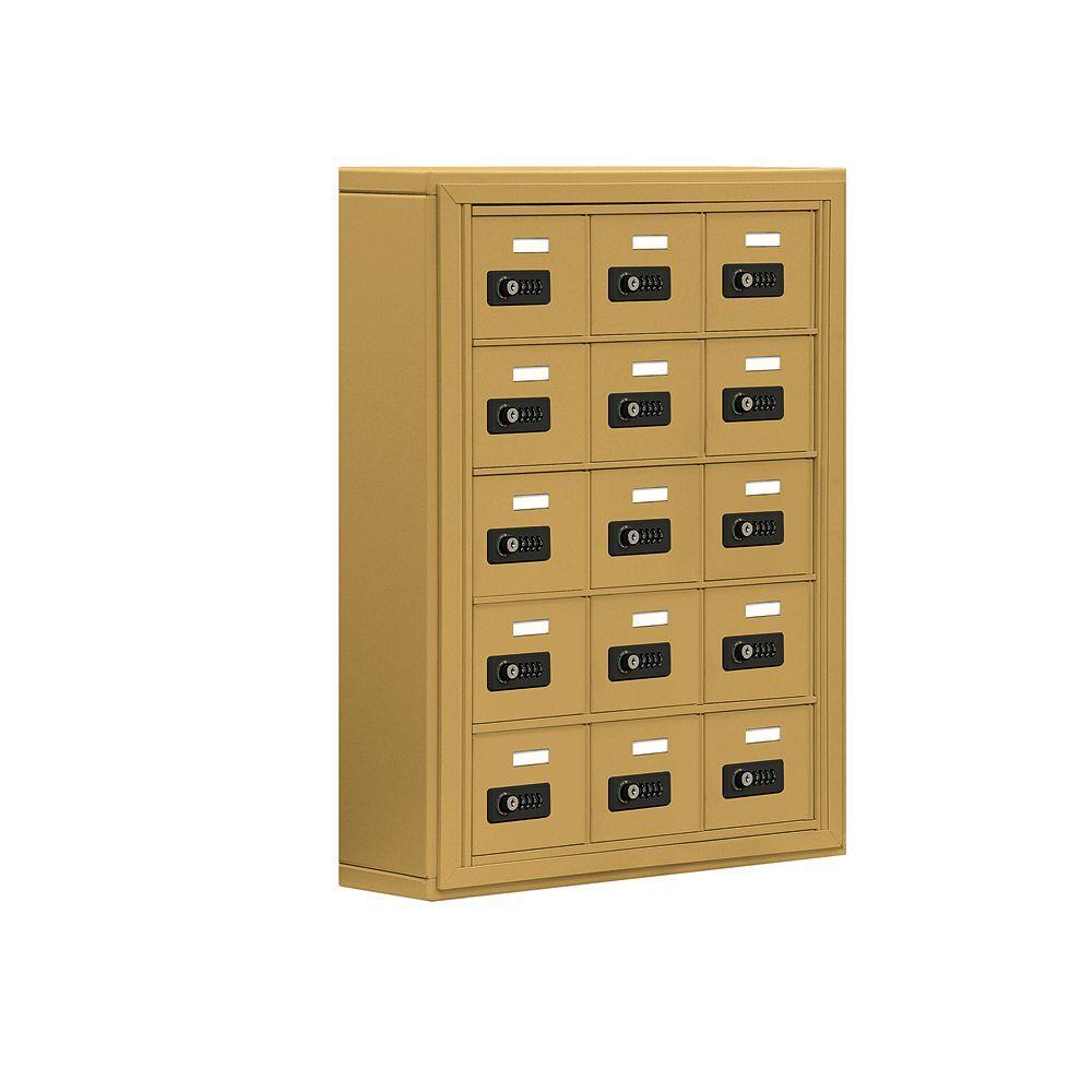 19000 Series 24 in. W x 31 in. H x6.25 in. D 15 A Doors S-Mount Resettable Locks Cell Phone Locker in Gold