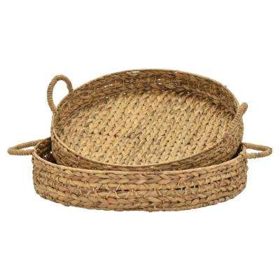 7 in. Brown Water Hyacinth Tray (Set of 2)