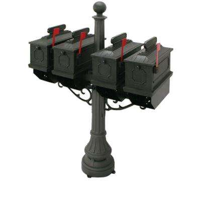 1812 Black Port Hill Mailbox with Post