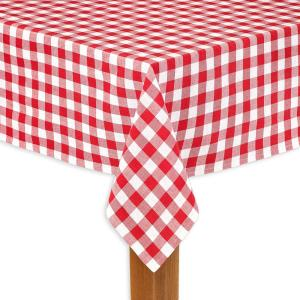 Buffalo Check 60 in. x 84 in. Red 100% Cotton Table Cloth for Any Table