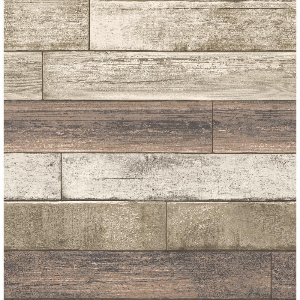 Porter Coffee Weathered Plank Wallpaper