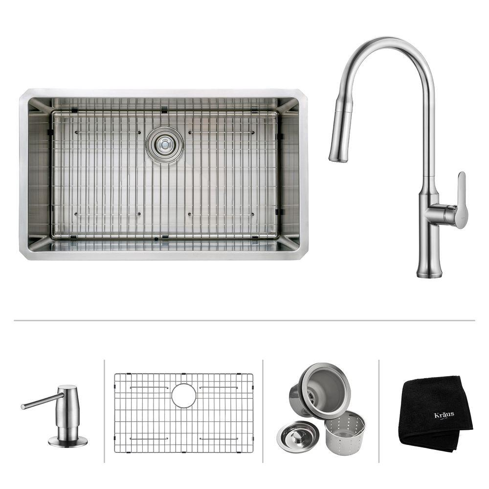 Kraus All In One Undermount Stainless Steel 32 In Single