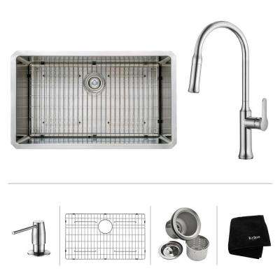 All-in-One Undermount Stainless Steel 32 in. Single Bowl Kitchen Sink with Faucet and Accessories in Chrome