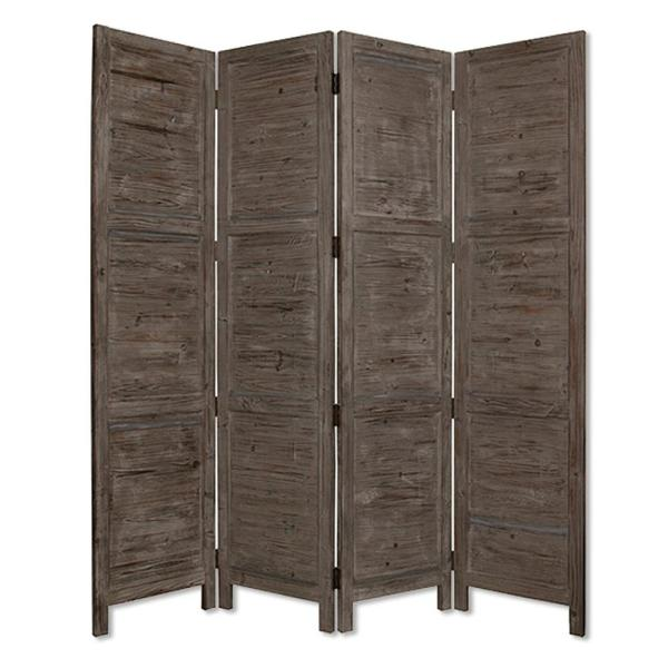 Nantucket 7 ft. Gray 4-Panel Room Divider SG-53 Grey