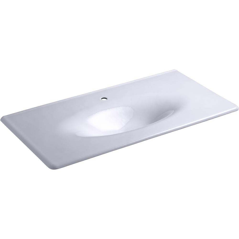 KOHLER Iron/Impressions 43.625 in. W Vanity Top with Single Faucet Hole in Lavender Grey