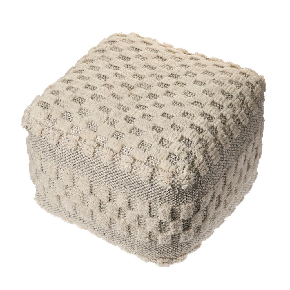 Block Cream Tufted Checkered Geometric Pouf