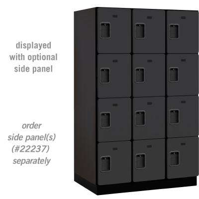 24000 Series 4 Tier 24 in. D 12 Compartments Extra Wide Designer Wood Locker in Black