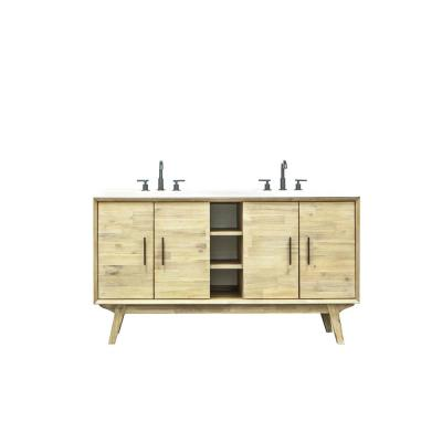 Pritchard 61 in. W x 22 in. D x 34 in. H Vanity in Solid Acacia Wood with Cultured Marble top with White sink