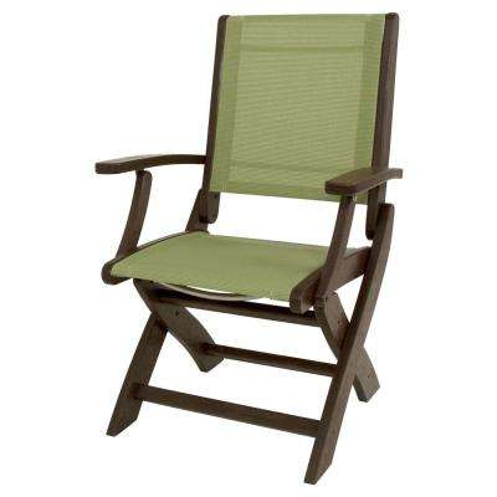 POLYWOOD Mahogany/Kiwi Sling Coastal Patio Folding Chair