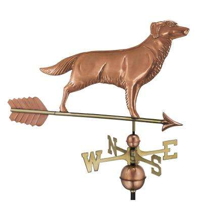 Golden Retriever Weathervane with Arrow - Pure Copper