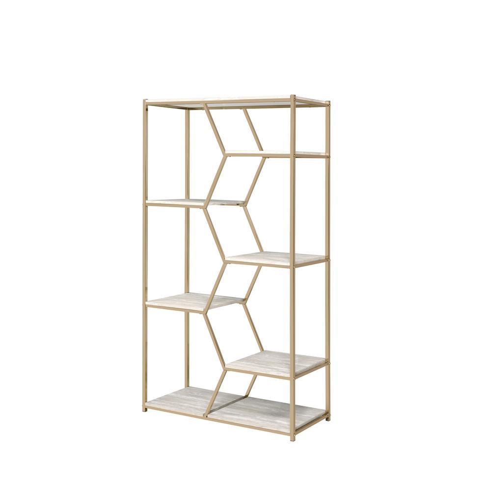 Enitia Champagne Gold 7-Shelf Display Bookcase