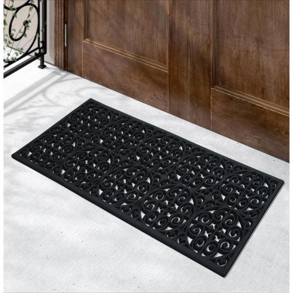 A1 Home Collections Grill Indoor Outdoor Black 18 In X 48 In Rubber Easy To Clean All Weather Exterior Doors Large Size Double Door Mat Rp315 The Home Depot