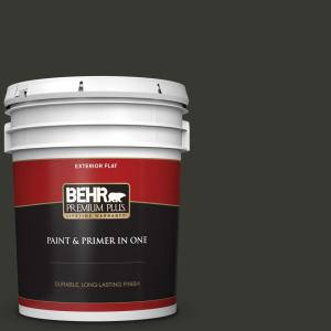 5 gal. #N520-7 Carbon Flat Exterior Paint and Primer in One
