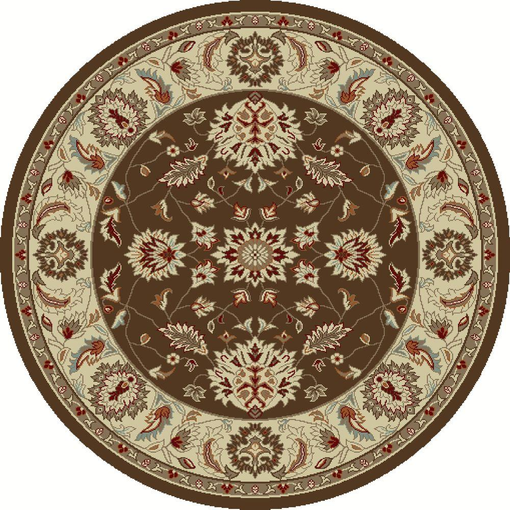 Chester Oushak Brown 5 ft. Round Area Rug
