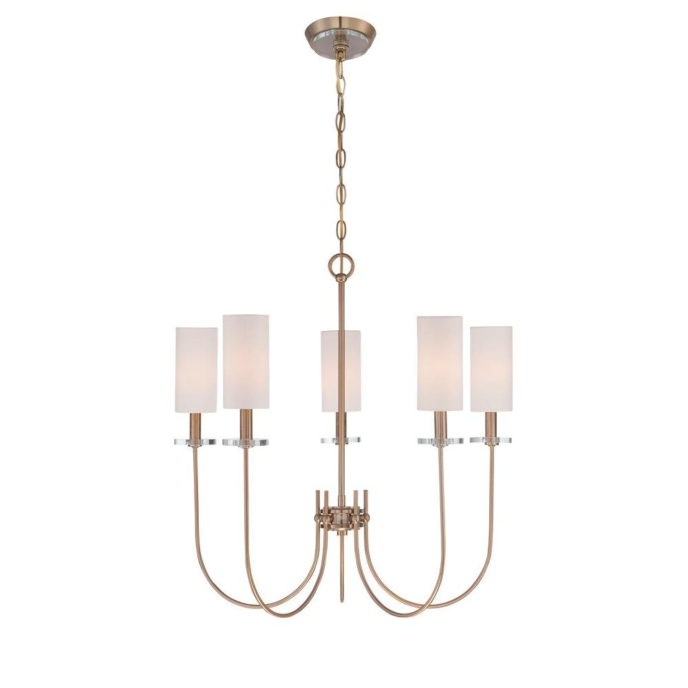 World Imports Monroe Collection 5 Light Satin Gold Chandelier With Fabric Shade