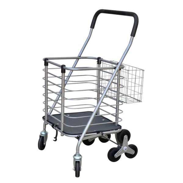 3-Wheel Steel Easy Climb Shopping Cart Design with Accessory Basket in Silver