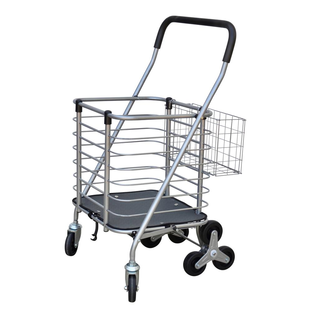 80c531f0b78d Milwaukee 3-Wheel Steel Easy Climb Shopping Cart Design with Accessory  Basket in Silver